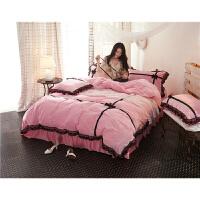 韩版公主风水晶绒四件套加厚保暖纯色法莱绒抗静电双面绒被套床单v定制 偶遇-粉色 2.0m(6.6英尺)床