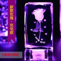 水晶玫瑰花3D内雕照片摆件生日结婚创意男送女朋友表白情人节礼物