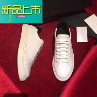 新品上市19新款小白鞋男女真皮系带男鞋运动休闲鞋绿尾黑尾红尾板鞋
