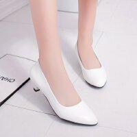 夏季亮光白色低跟3cm高跟鞋细跟圆头少女单鞋工作职业黑色小皮鞋