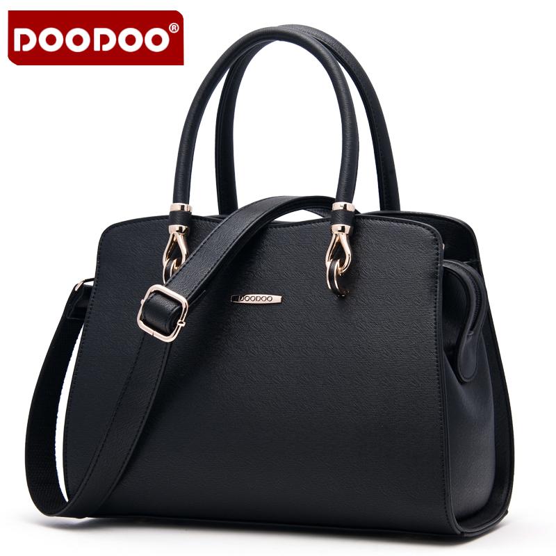 【支持礼品卡】DOODOO 2018新款包包女包欧美风OL定型包时尚手提中号包单肩斜跨女士包包 D5022