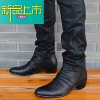 新品上市尖头皮鞋韩版潮流男士短靴英伦真皮靴男皮靴马丁靴时尚靴新款