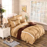 纯色韩式风公主风四件套1.8m荷叶花边床单式素色被套被罩床上用品定制