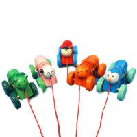 拖拉学步木质玩具制作小孩拉车儿童小拖车宝宝拉线玩具小敲鼓车c