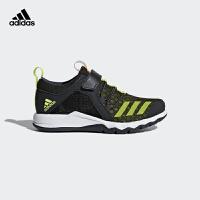 阿迪达斯透气休闲网面运动鞋 BB7780 碳黑/亮黄荧光