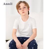 【2件4折价:87.6】安奈儿童装男童T恤两件装2021夏新款男孩睡衣短袖上衣薄款空调衫