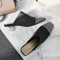 网红款包头拖鞋外穿2019新款韩版百搭拼接水晶跟低跟真皮穆勒鞋女
