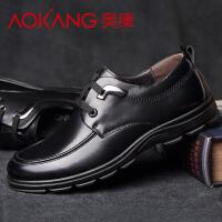 奥康男鞋商务休闲鞋真皮男士皮鞋男英伦系带低帮单鞋子