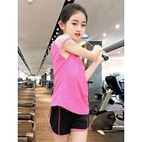 女童运动套装夏女大童儿童女孩时尚休闲短袖速干衣健身跑步两件套