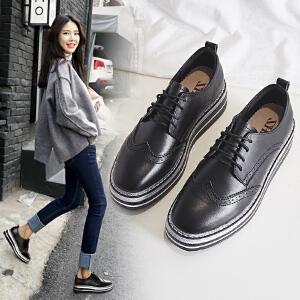 ZHR2019春新款韩版厚底松糕鞋百搭单鞋平底布洛克鞋真皮女鞋子