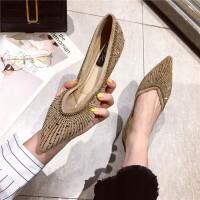尖头平底鞋低跟浅口单鞋女韩版2019春新款显瘦烫钻百搭舒适潮女鞋