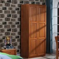储物柜单人儿童两门衣橱小户型胡桃木家具 衣柜 两门实木衣柜 2门