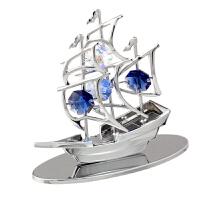 一帆风顺帆船采用施华洛世奇元素摆件创意车内饰品可刻字礼物