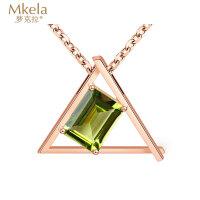 梦克拉 18k金橄榄石吊坠项链一体链 18k金玫瑰金彩金项链套链可调节 气质三角形