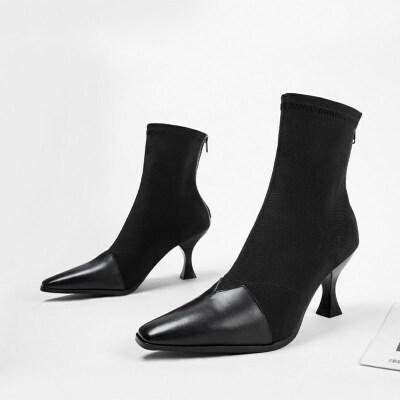 chic裸靴秋冬2019新款后拉链弹力靴尖头细跟短靴高跟中筒靴子拼色