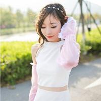 普润 夏季雪纺蕾丝素色防晒袖套手套 简约长款遮阳防紫外线 粉色