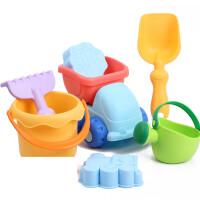 儿童沙滩玩具套装婴儿沙漏车沙子挖沙铲戏洗澡小孩喷水枪�Q 益凯 沙滩7件套