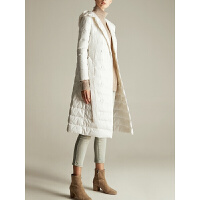 新年特惠90%白鸭绒轻薄保暖羽绒服女2019冬装新款连帽中长款修身外套 白色 预售5天发货