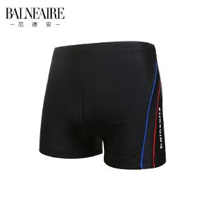范德安黑色性感平角男士泳裤 加厚速干沙滩裤 时尚大码专业游泳衣