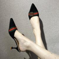 时尚小香风半拖鞋女外穿性感尖头细高跟凉拖外穿