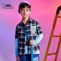 【3件2折:79.8元】小虎宝儿男童长袖衬衣2021春季款儿童假两件中大童洋气潮