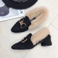 毛毛鞋女冬外穿2018新款尖头粗跟加绒单鞋复古百搭中跟网红豆豆鞋