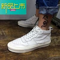新品上市男士靴子韩版潮流马丁靴英伦百搭中帮短靴冬季高帮鞋秋季中筒 白色 羊皮内里