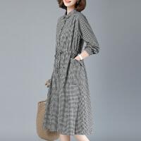 安妮纯格子连衣裙中长款2020春装新款 大码显瘦长袖纯棉衬衫裙