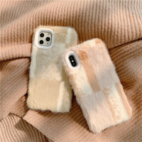 韩国ins格纹毛绒iphone11promax苹果x手机壳xsmax秋冬新款苹果8plus防摔软壳7plus创意6sp