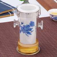 普洱茶专用泡茶具玻璃茶杯套装红茶陶瓷泡茶壶家用过滤双耳冲茶器