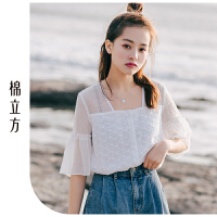 小清新气质白色雪纺衫女夏季2019新款棉立方洋气甜美半袖女装衬衫