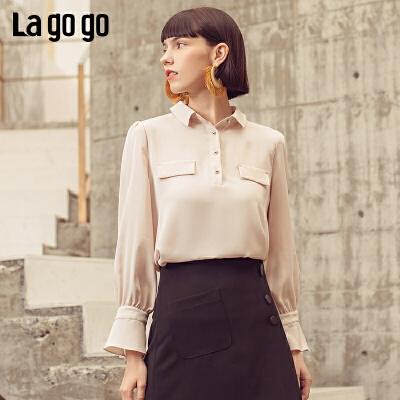 Lagogo拉谷谷2019春新款时尚清新百搭设计感很仙的衬衫洋气上衣女