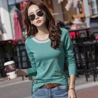 春装新款韩版上衣女士紧身打底衫女装绿色长袖女t恤纯色衣服
