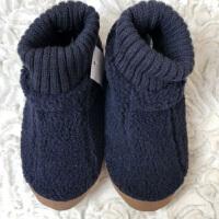 原单冬儿童棉拖鞋男女中大童包跟防滑保暖软底高帮室内居家地板鞋 藏青色 大眼萌
