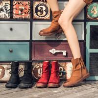 玛菲玛图女士短靴女2018新款英伦短筒靴圆头中跟平底侧拉链磨砂牛皮马丁靴5309-23
