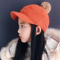 秋冬季儿童毛线帽子中大童女孩鸭舌帽保暖兔毛球棒球帽少女毛线帽