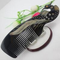 凤凰图案黑牛角梳按摩头梳家用大号直长发便携梳子