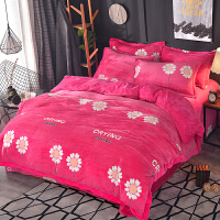 水晶绒四件套保暖加厚天鹅绒法莱法兰绒珊瑚绒被套短毛绒床上用品 玫红色 陌上花颜-红