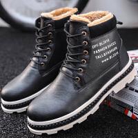 保暖工装靴冬季加绒加棉马丁靴学生韩版男鞋子英伦高帮休闲鞋潮流 黑色 8333X