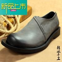 新品上市欧美秋冬男士皮鞋手工商务日常休闲鞋头层真牛皮低帮单鞋宽边耐磨