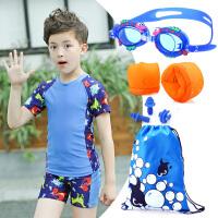 新款儿童泳衣男童泳裤套装男孩分体中小童印花游泳衣送帽