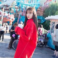 2019新款十年三月三十日沈双双宋妍霏同款衣服长袖工装衬衫牛仔外套秋装 红色