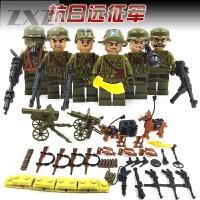兼容乐高军事小人警察士兵武器战狼2人仔拼装积木玩具积木