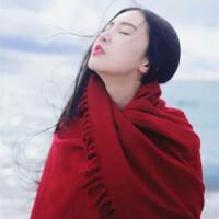 大红色围巾女秋冬季韩版百搭针织毛线围脖新娘婚纱结婚大披肩两用