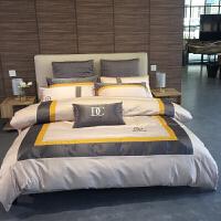 欧式床单四件套全棉男士商务六件套全棉被套床笠1.8m2.0m床上用品定制 床单款 四件套