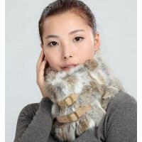 时尚个性加厚保暖兔毛围巾女士毛绒宽大拼接格子皮草围脖套头