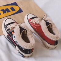 棉鞋女冬加绒2019新品学生韩版百搭板鞋保暖帆布鞋女加厚网红鞋