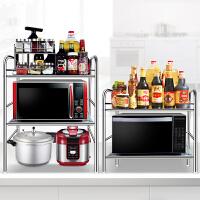 不锈钢厨房置物架储物收纳微波炉烤箱架2层3层调味品蔬菜架子