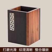 实用红木雕刻笔筒黑檀木质中式创意个性商务礼品