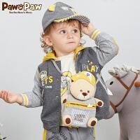 【秒杀价:120】PawinPaw卡通小熊童装春秋男宝宝撞色外套婴儿卫衣开衫